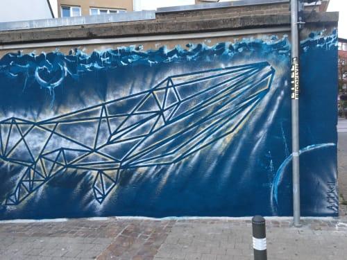 Murals by MURALS BY MCKELL seen at Place de l'église, Ettelbruck - Geometric Whale