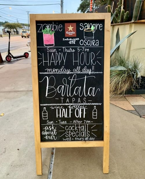 Signage by Lettered by Lauren seen at Barlata, Austin - Specials Chalkboard