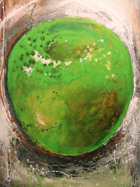 Paintings by Kate Kova seen at ENZUMA Villa St. Barth, Toiny - Red and Green Apple