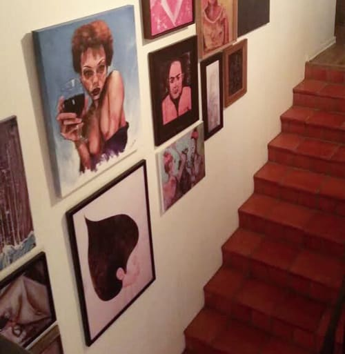 "Paintings by Brian ""BNick"" Nickson seen at Private Residence, Los Angeles - Wine Fine"