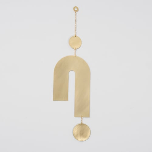 Sculptures by Circle & Line seen at Private Residence, Austin - Turn Wall Hanging in Polished Brass
