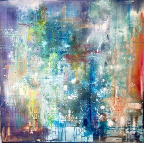 """Paintings by Margaret Alice Høiesen seen at Private Residence, Stavanger - """"Manhattan by night"""" abstract. This is now SOLD"""
