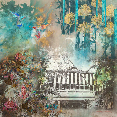 Paintings by Deborah Mckellar – Talking Textiles seen at Far East Square, Singapore - In the Emerald Jungle