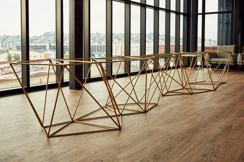 Tables by Kyle Minor Design seen at Stripe, San Francisco - Walnut & Brass Table