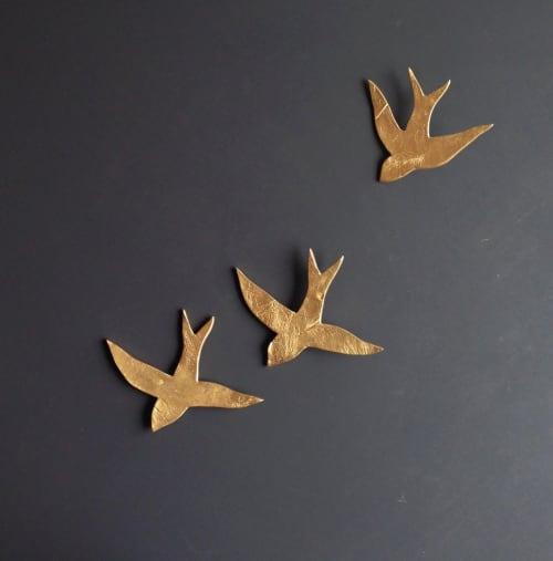 Art & Wall Decor by Elizabeth Prince Ceramics seen at Creator's Studio, Manchester - 3 Gold Porcelain Ceramic Wall Art Swallows