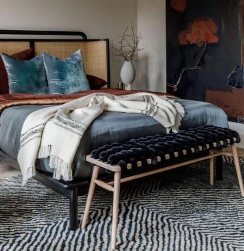 Black Velvet Woven Bench | Benches & Ottomans by Knots Studio