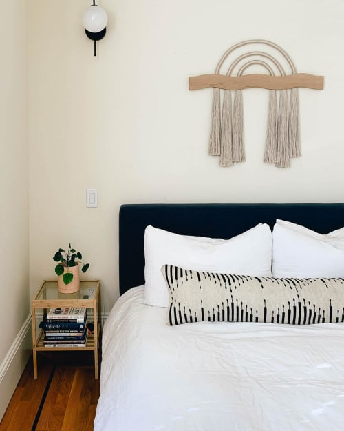 Macrame Wall Hanging by Cindy Hsu Zell seen at Private Residence, Los Angeles - Custom Oak Sunrise Piece