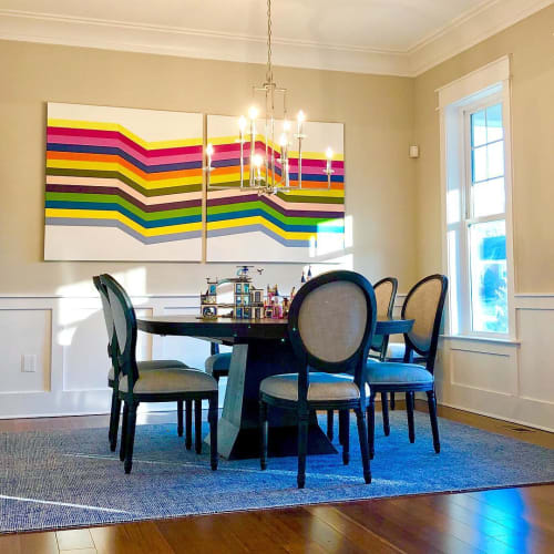 Paintings by Gina Julian seen at Private Residence, McLean - Large Diptych