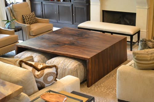 Tables by Greenwood Bay Woodworking seen at Private Residence, Houston - Double waterfall Walnut coffee table.