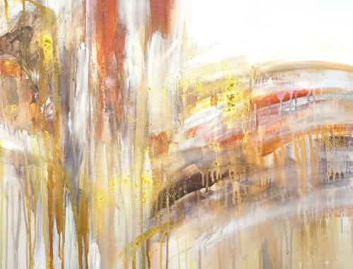 Paintings by Linnea Heide contemporary fine art seen at Private Residence - 'FiREWALKER' original abstract painting by Linnea Heide