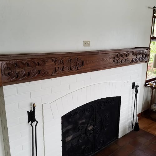 Fireplaces by Bainbridge Island Woodworks seen at Private Residence, Bremerton - Upcycled Bedframe Fireplace Mantel