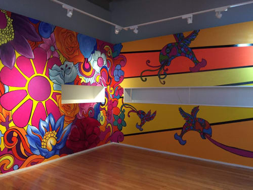 """Murals by Triana Parera seen at Museo Soumaya Plaza Loreto, Ciudad de México - """"The beatles. Ayer, hoy y mañana"""""""