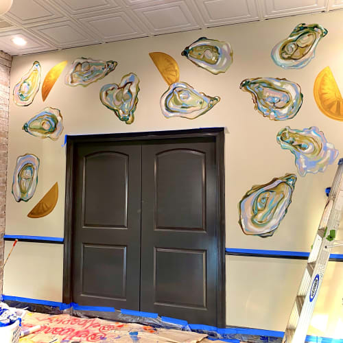 Murals by Ello Artist seen at Beausoleil Restaurant & Bar, Baton Rouge - Oyster Wall