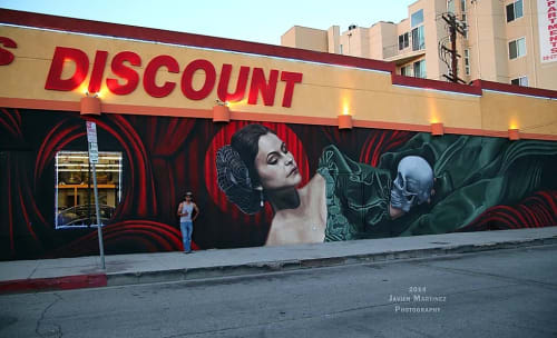 Street Murals by Levi Ponce seen at Lankershim Boulevard, Los Angeles - Soliloquy