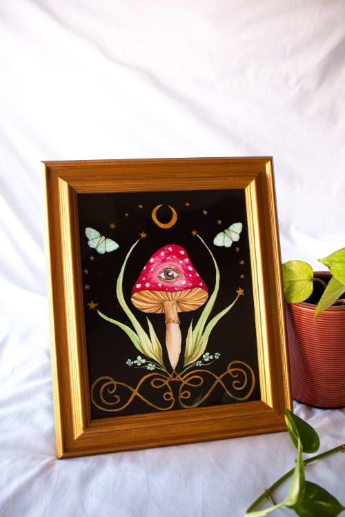 Paintings by Jillian Selene Art seen at Shades of Brown Coffee & Art, Tulsa - Magic Mushroom