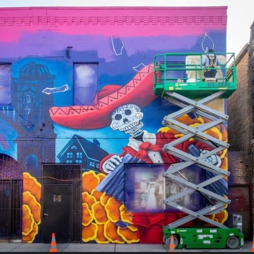 "Murals by Elizabeth ""BeL"" Reyes seen at West 26th Street, Chicago - Celebrando Comunidad"