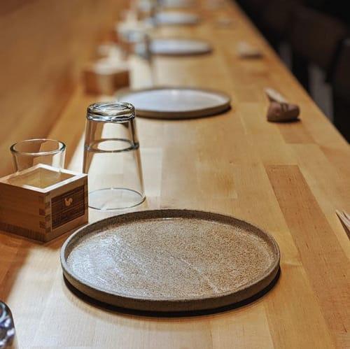 Ceramic Plates by Ceramicsbytiz seen at Yakitori, Tallinn - Tableware for Japanese restaurant in Talinn, Estonia