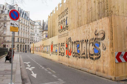 Street Murals by Vincent de Boer seen at Cluny Museum - National Museum of the Middle Ages, Paris - Calligraphy wall