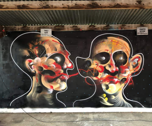 Street Murals by Lee Ellis seen at Tobacco Factory, Bristol - Face/Skull Piece Art
