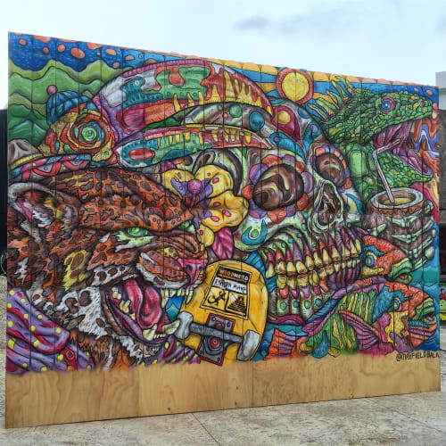 Murals by Maxfield Bala Creative seen at Avenida Playa del Carmen, Cancún - Maxfield Bala