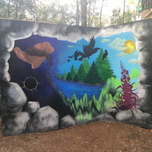 Murals by Annie Kyla Bennett Art seen at Hulaween 2018, Live Oak - Spreading Seeds mural