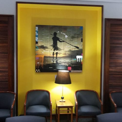 Paintings by Mark Andrew Allen seen at Delta Sky Club, Honolulu - Hawaii State Of Mind