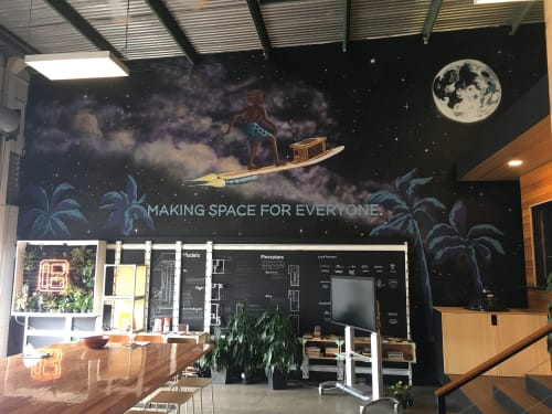 "Murals by Kai'ili Kaulukukui seen at 441 Cooke St, Honolulu - ""Making Space"""