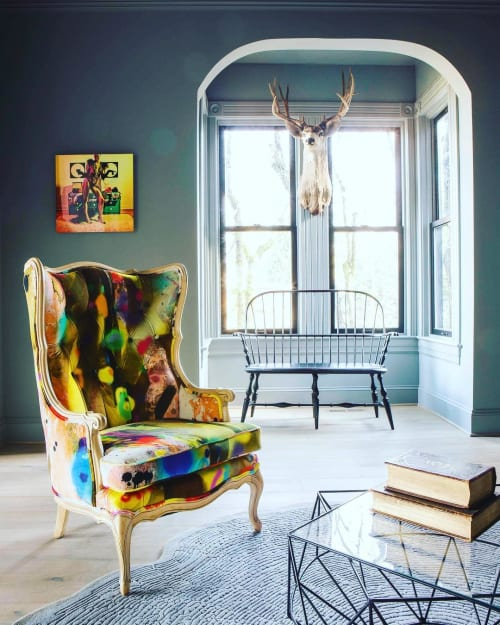 Chairs by Revive Designs and Upholstery seen at Private Residence, Portland - Graffiti Chairs