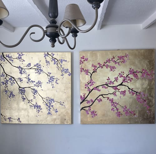 Paintings by Louise Dean - Artist seen at Private Residence, Withyham - Sakura in Pink and Lilac