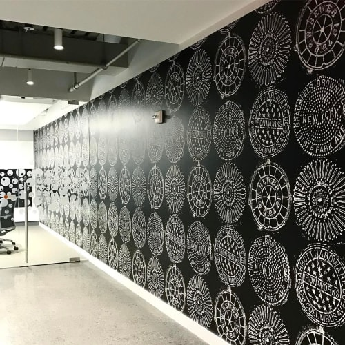 Wallpaper by Merenda Wallpaper seen at Nickelodeon, New York - NYC Manhole