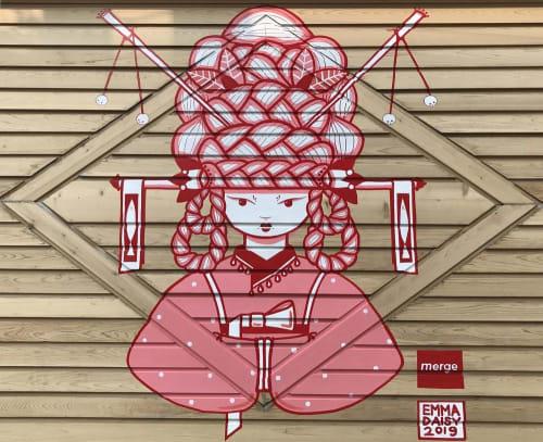 Murals by Emma Daisy seen at Merge, Milwaukee - HANBOK GIRL & 2 STINKING FISH