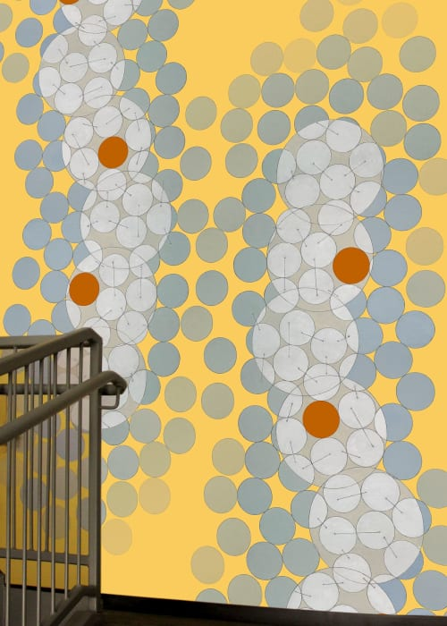 Interior Design by Annie Darling seen at Austin, Austin - Wallcovering for Financial Institution Stairwells