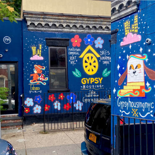 Street Murals by Lucky Rabbit seen at 194 Irving Ave, Brooklyn - Gypsy Housing
