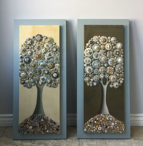 Art & Wall Decor by Cami Levin seen at Private Residence, Dallas - Custom pair of Trees of Love