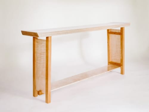 The Shaped Console Table – Tiger Maple with Cherry | Tables by Mokuzai Furniture