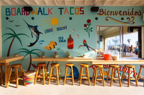 Murals by Sofia Enriquez seen at Boardwalk Tacos, Los Angeles - Boardwalk Tacos Mural