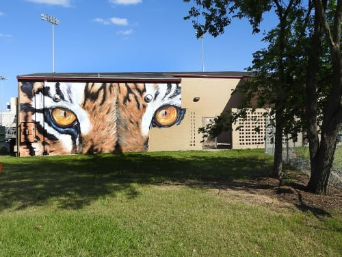 Street Murals by Anat Ronen seen at Texas Southern University, Houston - Eyes of the tiger