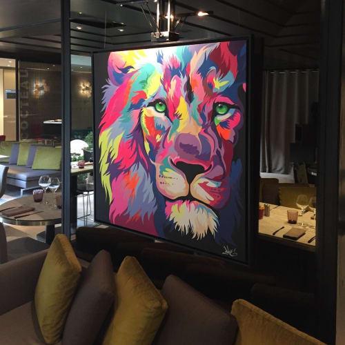 Paintings by Dave Baranes seen at Hôtel Pullman Paris Montparnasse - Ouverture Printemps 2020, Paris - Lion Painting