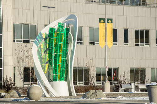 Sculptures by Osman Akan seen at University of Alaska Anchorage, Anchorage - Lucerna
