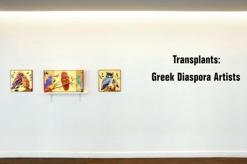 "Paintings by Peter D. Gerakaris Studio seen at Shiva Gallery, New York - ""Spotted Owl Icon Triptych"" - Greek Diaspora Exhibit"