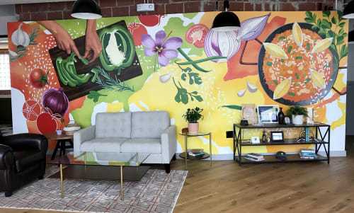 Murals by Marcella Kriebel seen at WeWork, Washington - Global Paella Mural for World Central Kitchen