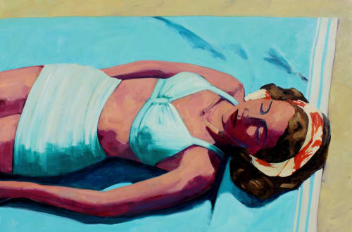 "Paintings by T.S. Harris aka Tracey Sylvester Harris seen at Delta Sky Club, San Francisco - 'Beach Serenity', 48""x72"", original oil painting"