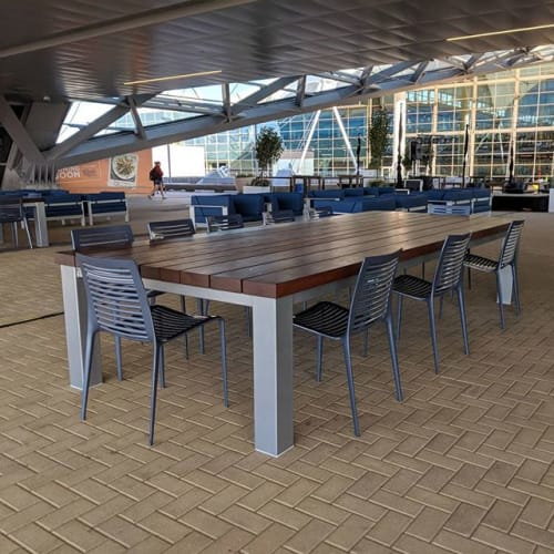 Tables by Where Wood Meets Steel seen at Denver International Airport, Denver - Ipe Outdoor Dining Tables