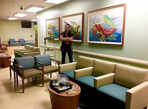 Paintings by Sabado Studios seen at Kaiser Permanente, Honolulu - The Hawaii Ocean Triptych