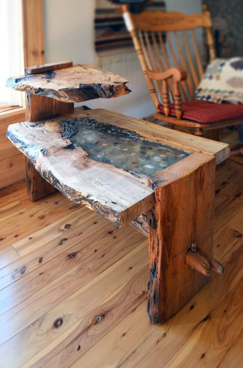 Tables by Abodeacious seen at Private Residence, Wheaton - Live edge oak end table
