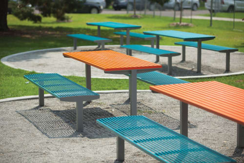 Benches & Ottomans by mmcité1 seen at Paco Sanchez Park, Denver - Vera Solo table and park bench
