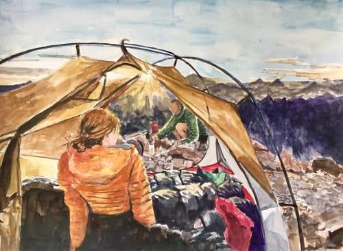 Paintings by Arran Harvey seen at San Francisco, San Francisco - Dawn Camp, 2017, watercolor, 11 x 15 inches