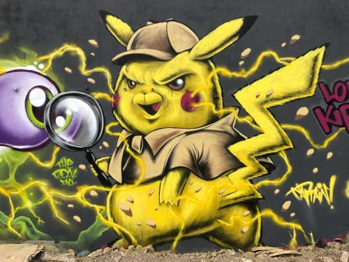 Murals by Captain Kris seen at Shoreditch, London - Detective Pikachu