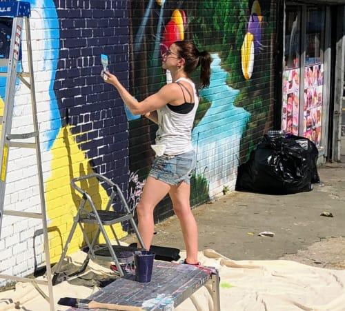 Street Murals by Jessie Novik Murals seen at Astoria, Queens - Fight Together