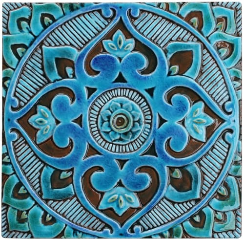 Wall Hangings by GVEGA seen at Private Residence, Mijas - Patio decor turquoise ceramic tiles wall art installation.
